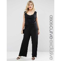 ASOS エイソス CURVE 大きいサイズ Wide Leg Jumpsuit in Crepe