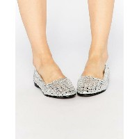 Hudson London Coco Leather Silver Woven Flat Shoes