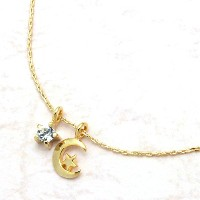 [Jewelry Shop M]お肌に優しいニッケルフリー 高級極細キラキラチェーン スター&メタル三日月 ネックレス ゴール...