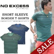 【30%OFF・送料無料・特価・SALE(セール)】 NO EXCESS(ノーエクセス) ヴィンテージ加工 ボーダー 半袖Tシャツ ク...