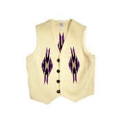【期間限定30%OFF!】ORTEGA'S(オルテガ) /regular front woven vest/white x purple x black/size 40