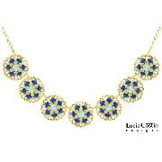 Handmade in USA 24K Yellow Gold over .925 Sterling Silver Necklace by Lucia Costin with Light Blue, Blue Swarovski Crystals, Filigree Ornaments and Delicate...