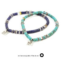 on the sunny side of the street410-301 /Heishi beads & SQUARE Braceletw/square sunny side charmBracelet/ブレスレット天然石/ターコイズ/...