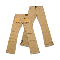 """【SKULL FLIGHT スカルフライト】ボトム/SS PANTS type2""""STRETCH QUILTING LEATHER POCKET""""(ブーツカット) ★送料・代引き手数料..."""