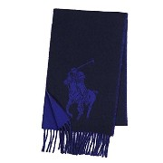 (ラルフ・ローレン) RALPH LAUREN BIG PONY JACQUARD SCARF マフラー #6F0351 433 HUNTER NAVY/ROYAL 並行輸入品