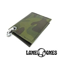 【LONE ONES】ロンワンズMF Wallet: Camouflage Leather Card Case with 2 Card Slots: Heron Grommet Silk Link and ID RING/MFカードケース/カ...