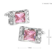 紳士カフスボタンPink CZ/Crystals Cufflinks Vintage Wedding Gift