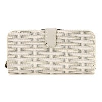 Cath Kidston キャスキッドソン 長財布 506489 Large Leather Trim Wallet Wicker White [アウトレット]