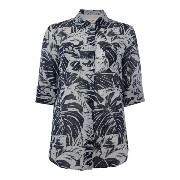マックスマーラ レディース トップス シャツ【Max Mara Spider three quarter sleeve leaf print shirt】Blue