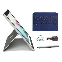 Microsoft Surface 3 Bundle - 5 Items: 128GB Wi-Fi Only Quard-Core 10.8-Inch Tablet, Original Blue, Surface Pen, Samsung 32GB SDHC Card and 2-in-1 Travel...