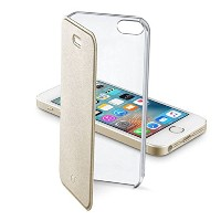Cellularline iPhone SE ケース 手帳型 ゴールド CLEAR BOOK for iPhone6s/6【上品なイタリアデザイン】