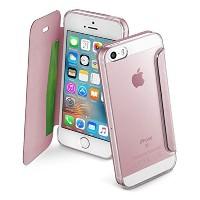 Cellularline iPhone SE ケース 手帳型 ローズゴールド CLEAR BOOK for iPhone6s/6【上品なイタリアデザイン】