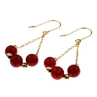 nadi 3.5-4.0mm K18PG 赤サンゴ ミラーボール チェーンピアス 18K Pink Gold (Rose Gold) Coral and Mirror Ball Chain Earrings