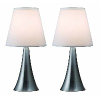 Simple Designs LT2014-WHT-2PK Valencia Brushed Nickel 2 Pack Mini Touch Table Lamp Set with Fabric Shades, White [並行輸入品]