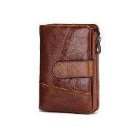 Contacts Mens Real Leather Bifold Wallet with Coin Pocket Purse Pouch Brown
