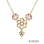 European Style 24K Yellow and Pink Gold over .925 Sterling Silver Necklace by Lucia Costin with Middle Flowers Surrounded by Twisted Lines, Set with Fancy...