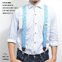 MITCHUMM(ミッチュム)SS'14SUSPENDERSLIGHT BLUE and GREEN COTTON FLOWERS on ROYAL BLUE花柄サスペンダー