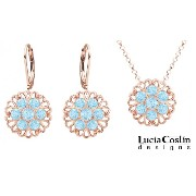 Victorian Style Lucia Costin 24K Pink Gold over .925 Sterling Silver Pendant and Earrings Set with Lace Details and Light Blue Swarovski Crystal Accents;...
