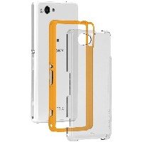 Case-Mate 日本正規品 Xperia J1 Compact / A2 SO-04F, Z1 f SO-02F 共用 Hybrid Tough Naked Case, Clear / Orange ハイブリッド タフ ネイ...