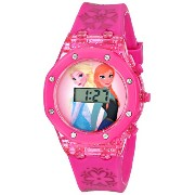 """Disney ディズニー アナと雪の女王 キッズ腕時計 Kids' FZN3568 """"Frozen Anna and Elsa"""" Digital Display Watch with Pink Band"""
