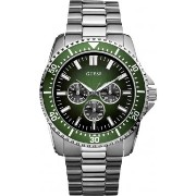 ゲス 腕時計 メンズ Guess Focus Men's Quartz Watch with Green Dial Analogue Display and Silver Stainless Steel Strap W10245G3