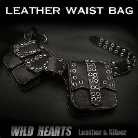 バイカーズ ウエストバッグ ヒップバッグ 本革/レザーMen's Genuine Biker Fanny Pack Waist Bag Hip Bag Pack Pouch Belt WILD HEARTS...