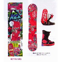 K2 SNOWBOARDING [ GIRLS GROM PACKAGE Aタイプ @421200] キッズ スノーボード 3点セット(ブーツ16.5〜22cm)安心の正規輸入品