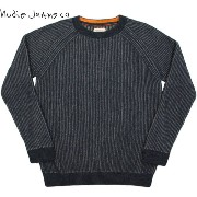 【SALE】30%OFF★Nudie Jeans co/ヌーディージーンズ ARON RECYLED TWO COLOR KNIT 畦編みクルーネックセーター NAVY(ネイビー×...