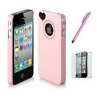 SODIAL(TM) Dexule Baby Pink Cute Girls Ultra-thin Ice Cream Glossy Hard Case Cover for iPhone 4 4S + Screen Protector + Pink Cute Stylus