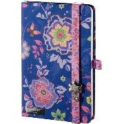 New!Lany book【Flowers Beauty】イタリアから新しいノートの風。A6(90×140mm)192ページ無地【Made in italy】Lany buttonにス...