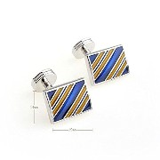 紳士カフスボタンRectangle Blue/Golden Stripe enamel エナメルCufflinks