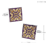 紳士カフスボタンPurple Enamelエナメル Golden Floral Square Cufflinks