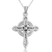 925 Polished Sterling Silver Celtic Cross with .05 Carat Diamond Pendant Necklace (24 Inches)