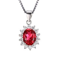 JewelryPalace Kate Diana(ダイアナ) プリンセス デザイン 2月 誕生石 人工 ルビー ネックレス ペンダント シルバー 925...