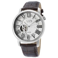 Rotary GLE000018-21 ロータリー メンズ腕時計 Men's Automatic Silver Dial Brown Genuine Leather
