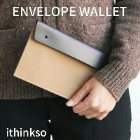 ithinkso ENVELOPE WALLET ナイロン 本革 財布 長財布 牛革 スマホポーチ 財布 ロングウォレット 旅行用品 パスポート ...