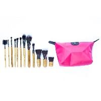 12 Piece Eco Bamboo Make Up Brush Set Plus Fuchsia Pink Zip Up Pouch.