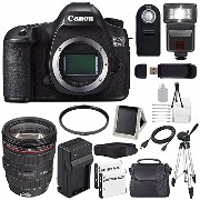 Canon EOS 5DS R DSLR Camera (International Model No Warranty) 0582C002 + Canon EF 24-105mm f/4L IS USM レンズ + LP-E6 バッテリー + External Rapid...