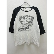 b-one-soulprojects ロゴプリント 七分袖 ラグラン カットソー Tシャツ 白黒 L【春夏】 【ベクトル 古着】【中古】 160831