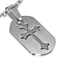 Stainless Steel Silver-Tone Religious Cross Pendant Necklace