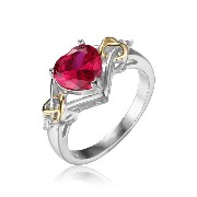 JewelryPalace 恋 結び 2.5ct 記念日 約束 7月 誕生石 人工 ルビー リング ハート スターリング シルバー 925 指輪 人気...