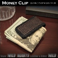 リザード トカゲ革 マネークリップ マグネットクリップMagnetic Money Clip Genuine Lizard Skin Leather WILD HEARTS Leather&Silver...
